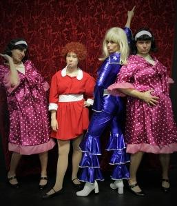 Kyle Thulien, Victoria Breitkreuz, Kristin Johnston and Martin Galba in Forbidden Broadway's Greatest Hits. Photo credit: Maja Galbova.