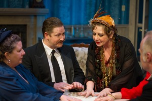 Parazanda Valois, John Evans, Francie Goodwin-Davies, and Martin Stout in Blithe Spirit. Photo credit: Rad Grandpa Photography