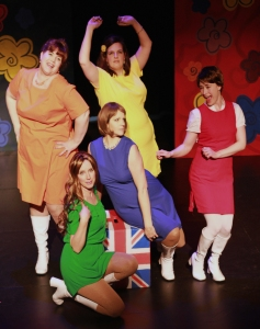 Kristen Finlay, Erin Foster-O'Riordan, Leslie Caffaro, Monica Roberts, Nicole English, and Sally Hunt in Shout! The Mod Musical. Photo credit Janine Hodder.