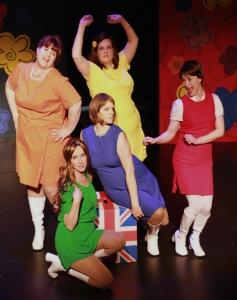 Kristen Finlay, Erin Foster-O'Riordan, Leslie Caffaro, Monica Roberts, Nicole English, and Sally Hunt in Shout! The Mod Musical. Photo credit Janine Hodder.