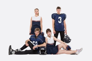 Lianna Makuch, Matt McKinney, Patrick Lundeen, and Joleen Ballendine in Cheerleader! Photo credit: Ryan Parker / PK photography