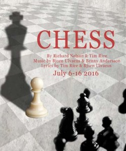 Chess at Walterdale Theatre July 6 - 16. Poster design credit: Jessica Poole