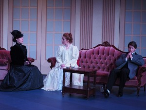 Marsha Amanova, Miranda Broumas, and Patrick Maloney in Lady Windermere's Fan. Photo credit: Jessica Poole