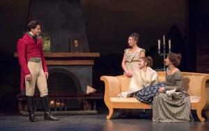 Matt O'Connor, Madison Walsh, Julia Guy, and Belinda Cornish in Sense & Sensibility at the Citadel Theatre April 27 - May 14. Photo credit: David Cooper Photography