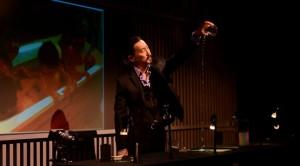 Tetsuro Shigematsu pours water into a container